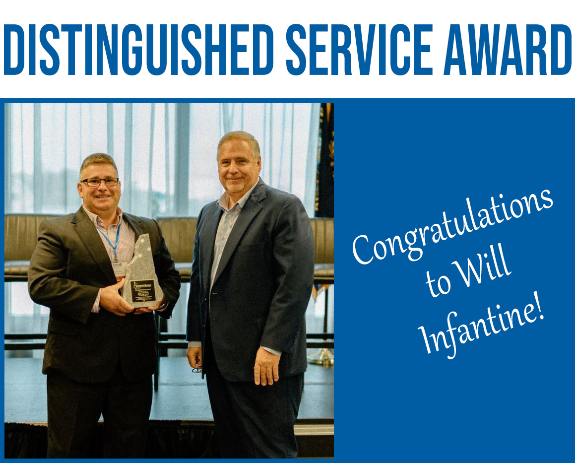 Leo Paquin, left, presents the NH Association of Insurance Agents Distinguished Service Award to Will Infantine.
