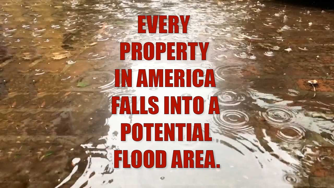 Flooded sidewalk - Every property in America falls into a potential flood area